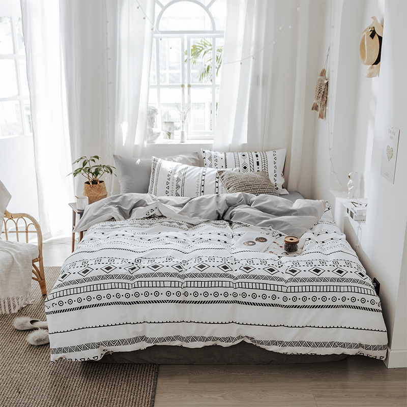 Black and white tribal style bed sheets 3pcs single linens 4