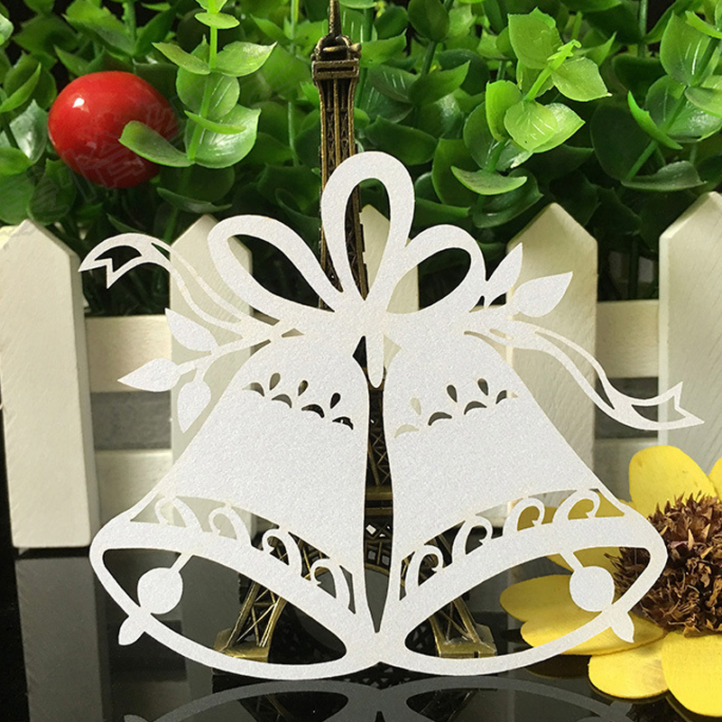 10 Color 100pcslot Laser Cut Bell Paper Place Card  Escort Card  Cup Card Wine Glass Card For Wedding Christmas Decor Favors