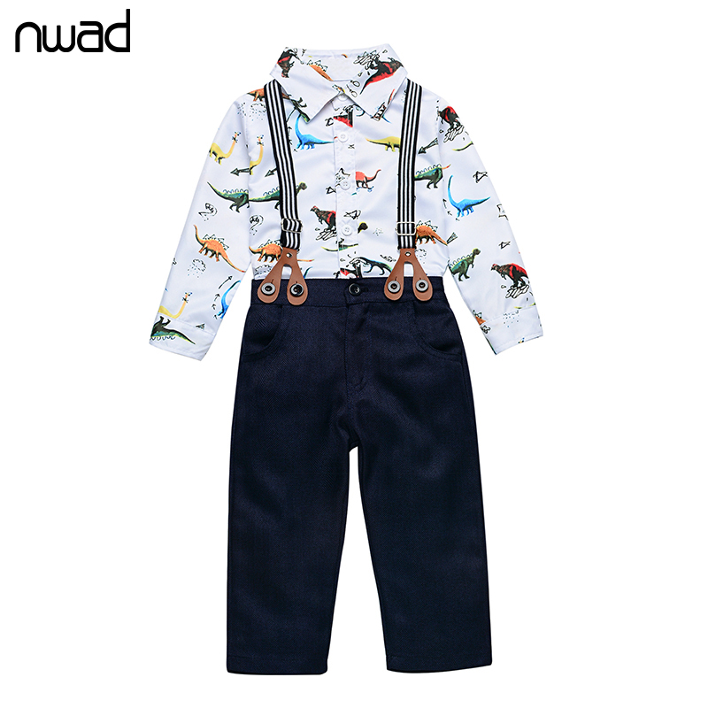 NWAD Fashion Newborn Baby Clothes Suspender Dinosaur Print Clothing Suit For Baby Boy Party Suit Infant Autumn Clothing FF224