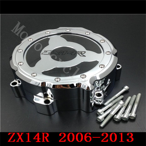 Fit for Kawasaki ZX14R ZX-14R ZZR1400 2006-2013 Motorcycle Engine Stator cover see through Chrome Left side