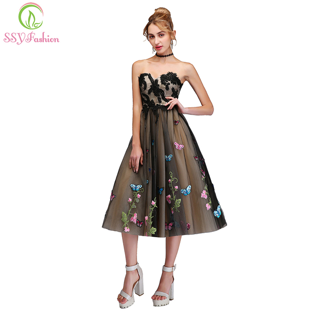9fe241da61 SSYFashion New Short Cocktail Dress Sweet Strapless Sleeveless A-line Lace  Appliques Butterfly Party Gown
