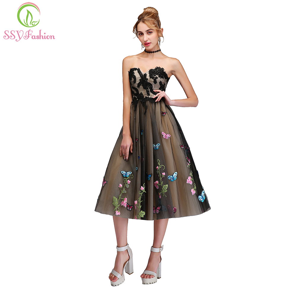 SSYFashion New Short   Cocktail     Dress   Sweet Strapless Sleeveless A-line Lace Appliques Butterfly Party Gown Custom Formal   Dresses