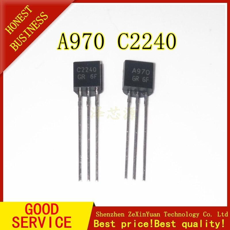 50pcs 2SA970 2SC2240 (25PCS* A970 +25PCS* C2240 ) TO-92 Bipolar Transistors - BJT NPN New And Original