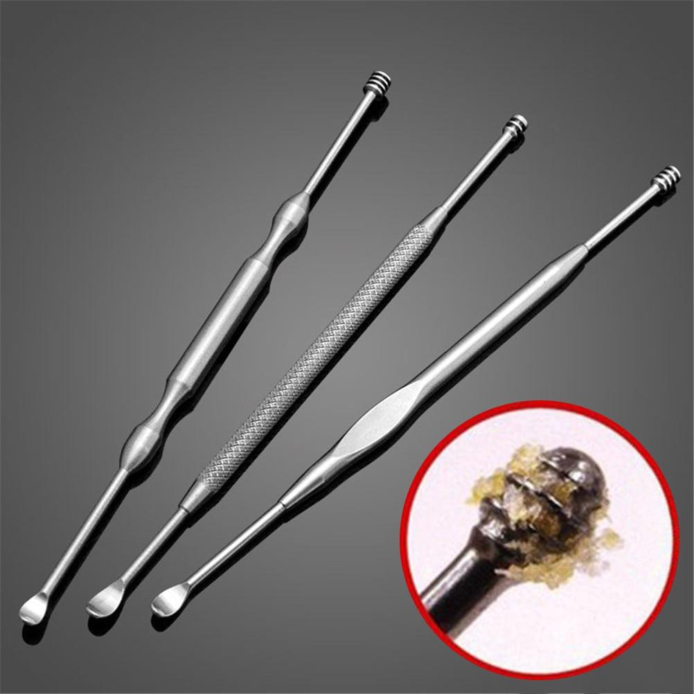 Beauty Tool 3PCS/Set Double-ended Stainless Steel Ear Pick Earpick Ear Wax Curette Remover Ear Cleaner Earpick Spoon Clean Ear