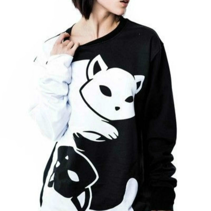Couples Black And White Yin Yang Cat Hoodies Long Sleeve Pullover Kitty Print Sweatshirts Soft And Comfy Tracksuit Loose Tops