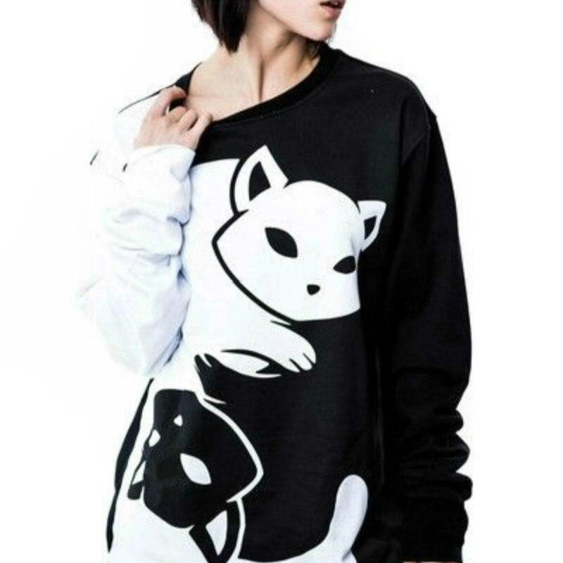 70b4839717e Detalle Comentarios Preguntas sobre Las parejas blanco y negro Yin Yang  gatos sudaderas con capucha de las mujeres manga larga jerseys sudaderas  para ...