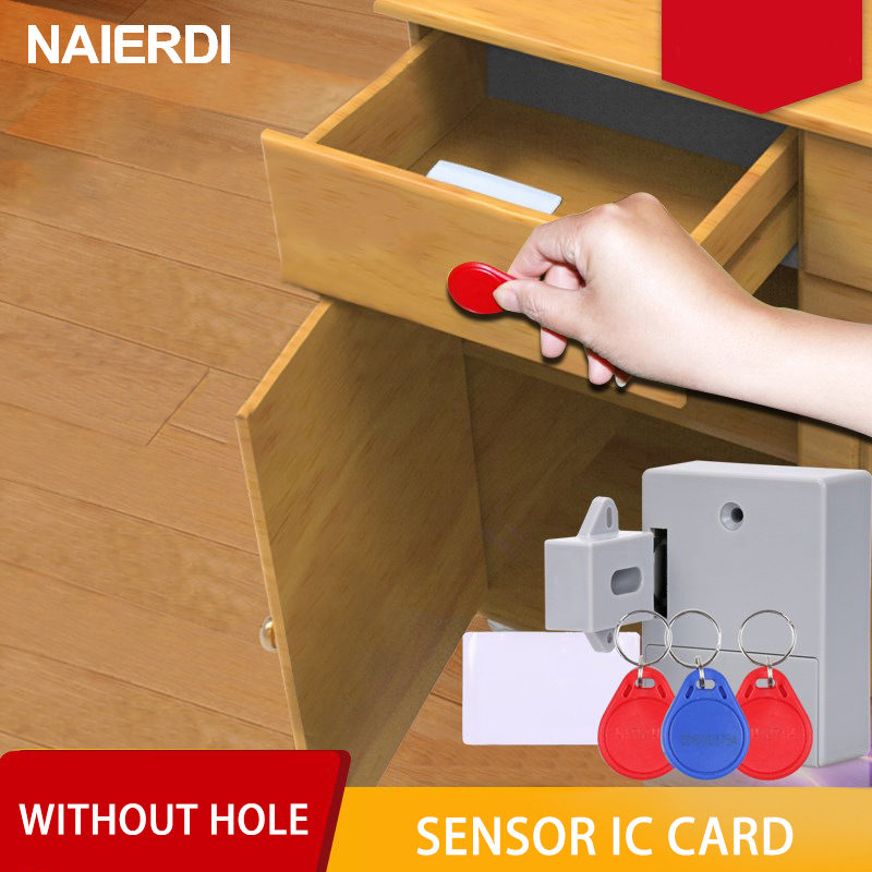 NAIERDI Invisible Sensor Lock EMID IC Card Drawer Digital Cabinet Intelligent Electronic Locks For Wardrobe Furniture HardwareNAIERDI Invisible Sensor Lock EMID IC Card Drawer Digital Cabinet Intelligent Electronic Locks For Wardrobe Furniture Hardware