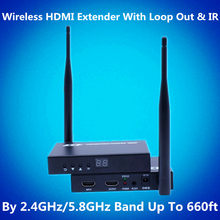 2.4G Hz/5.8G Hz 660ft Nirkabel HDMI Video Audio Transmitter Receiver 1080P Nirkabel HDMI Extender Wifi Kit 200 M dengan Loop Out & IR(China)