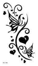 HC1148 Women Sexy Waist Waterproof Fake Tattoo Stickers Harajuku Black Butterfly Leaf Pattern False Temporary Tattoo Sticker