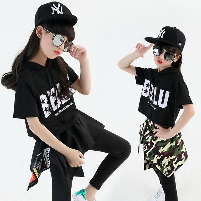 f8590e5f41cac Negro niños niñas Hip Hop danza disfraces niños Jazz ropa niños escenario  salón de baile competición