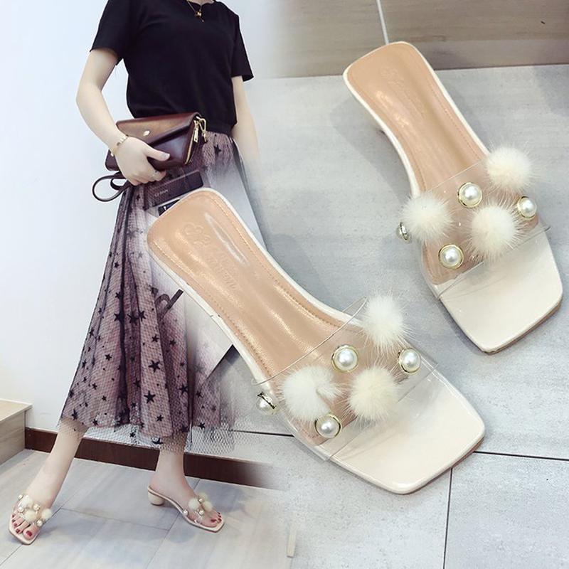 Femmes rose De Beige En D'été Pantoufles Chaussures Nouvelles Sandale Transparent Cristal 2018 Zqn1Pw5gx