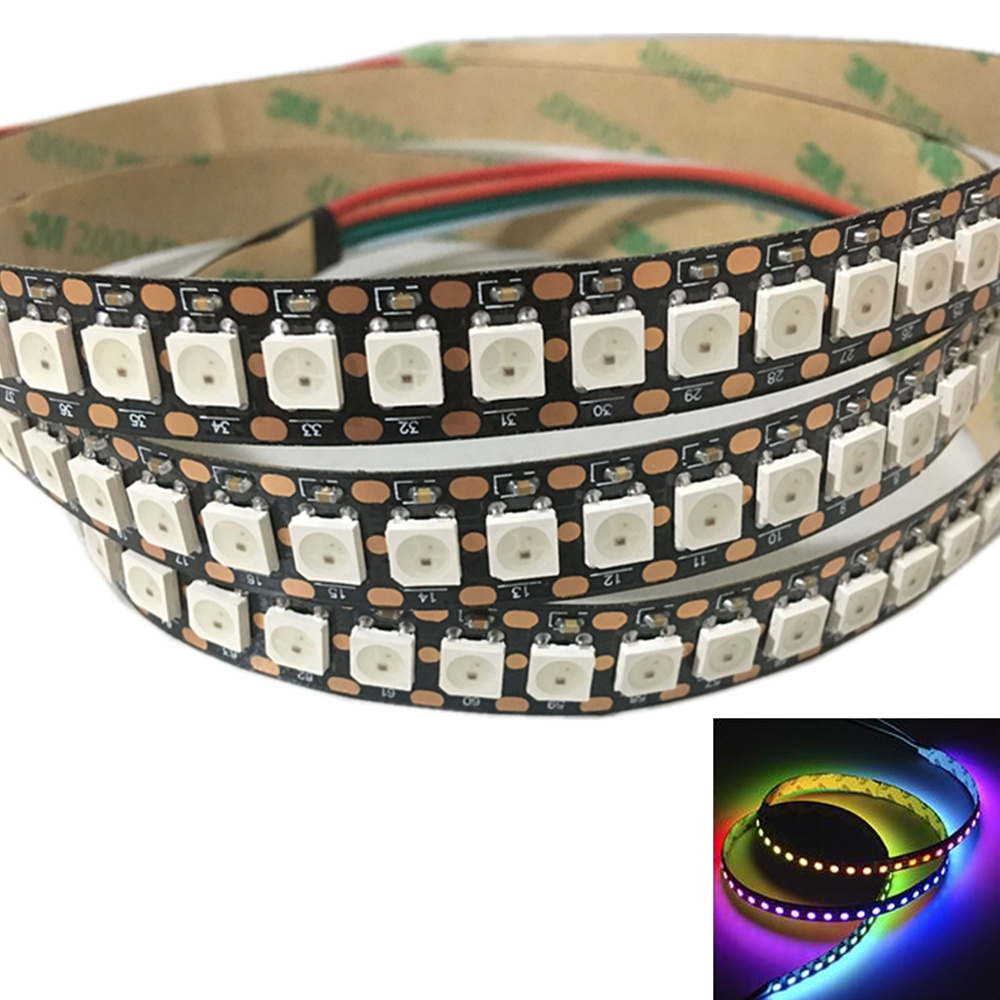 LED Waterproof 1/2M 2812 Full Color 30 60 96 144 LED Pixel/M SMD 5050 Built-in IC Programmable Addressable 5V Strip Lights IP68