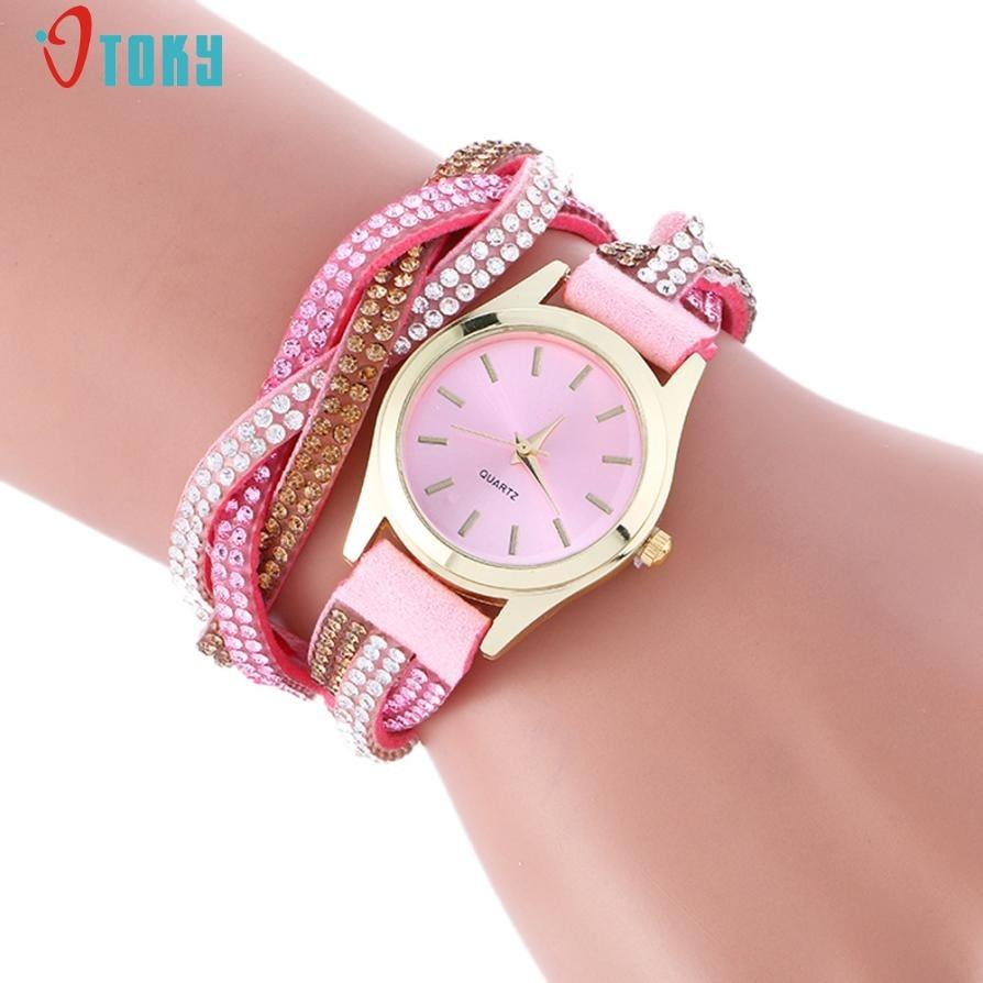Relogio Feminino Wrap Around Fashion Watches PU Leather Bracelet Lady Women Wrist Watch Creative Mar23