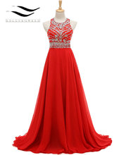 2017 Exquisite O-Neck Long Prom Dress Sleeveless Floor Length Chiffon with Crystal Long Homecoming Formal Gown SL-H868