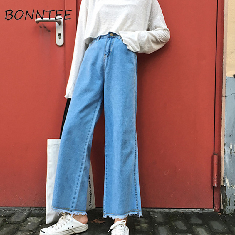 Jeans Women Solid Zipper Casual Pockets Simple All-match Wide Leg Pants Womens Chic Loose Korean Style Students Daily Fashion