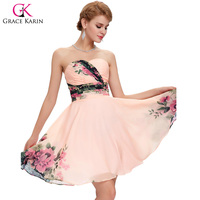 Grace Karin Short Cocktail Dresses 2017 Plus Size Summer Flower Print Dress Sweetheart Chiffon Formal Party Gowns Vestidos
