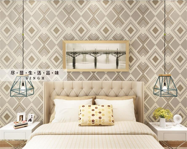 Beibehang Wallpapers Modern Wallpapers Living Room TV Background 3D Square  Mesh Bedroom Wallpaper For Walls 3