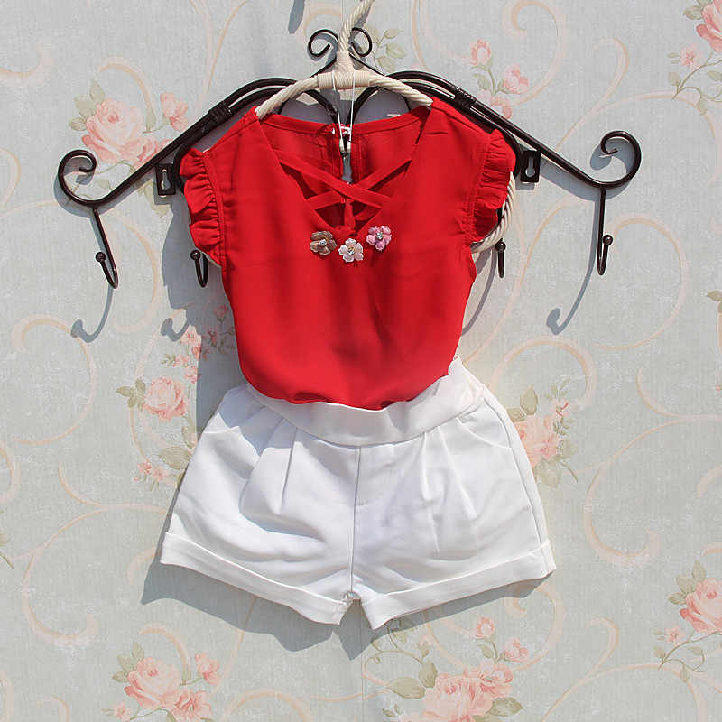 fd8a3407e92 ... Kids Blouse summer 2018 Teenage Big Girls Shirts Chiffon White Blouses  Girls Flower Design Tops Baby ...