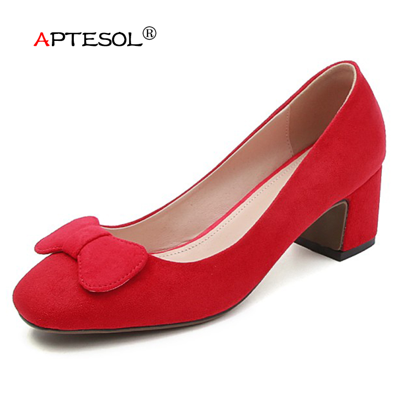 APTESOL Women's Fashion Genuine Leather Pumps Casual Slip-On Suede Women Shoes 5.5 cm High Heels Summer Party Wedding Lady Shoes xiaying smile new summer women sandals high square heels pumps fashion platform shoes casual lady mature style slip on shoes