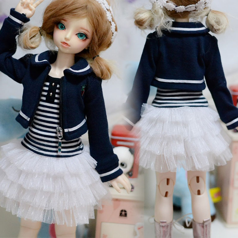 New Stripe T-shirt+Gauze skirt/Dress/Outfit For 1/3 1/4 BJD SD MSD Doll Clothes contrast stripe twist front shirt dress