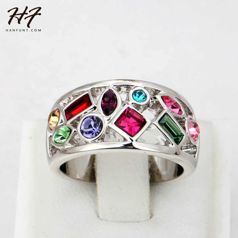 Top Quality Multicolor Crystal Ring Silver Color Austrian Crystals Full Sizes HotSale R075