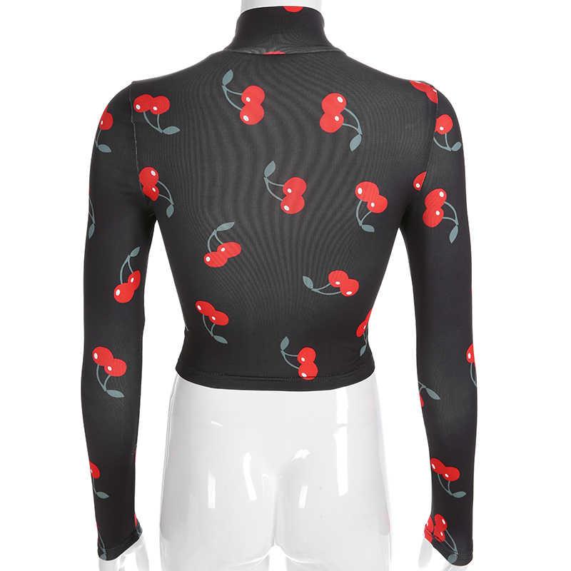 HEYounGIRL черная водолазка женская Повседневная Толстовка Harajuku укороченный топ Вишневый милый Принт футболки хлопок Весна 2019