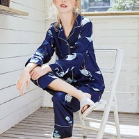 2019 fashion Autumn Women Ladies Sexy Satin Silk Pajamas Sets Long Sleeve Tops+Pants Sleepwear mujer Nightwear pyjama femme hot