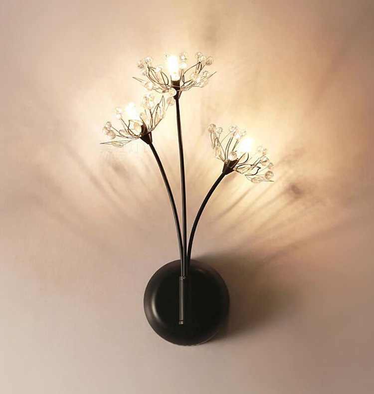 Modern Luxury Crystal Wall Light Chrome Finish Wall Sconce Lighting Fixture dandelion Shape Wall Lamp crystal light светильник подвесной moooi dandelion цвет серебряный 80х200 см
