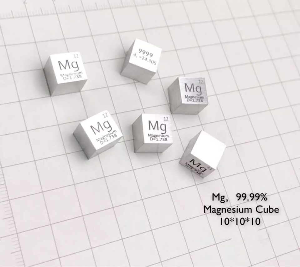 Magnesium Metal 10mm Density Cube 99.99% Pure for Element Collection цена
