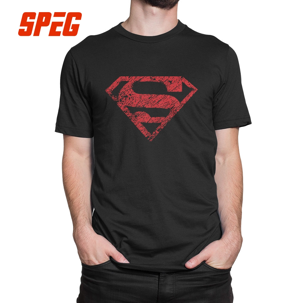 Boy of Steel Superman Tee Shirts Purified Cotton Male Vintage Style T-Shirts Short-Sleeved Lightweight T Shirts