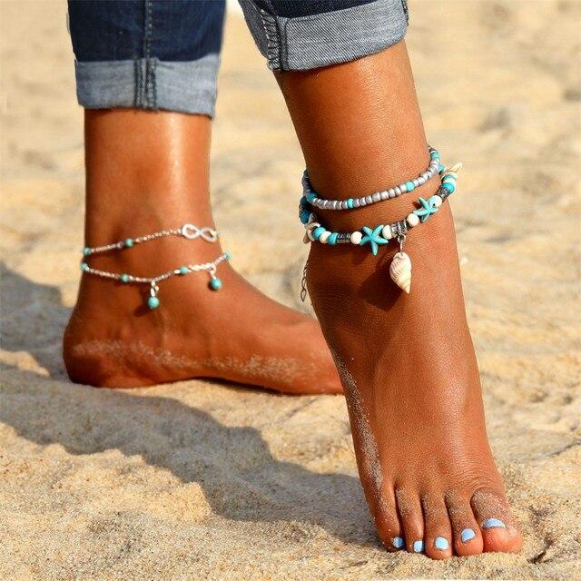 ボヘミアンシェル女性の新二重層ペンダントアンクレットブレスレット脚に夏ビーチ足首チェーン足ジュエリー