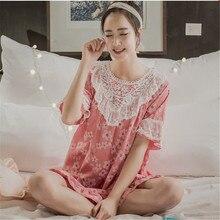 2016 NEW Nightgowns Summer Sleepwear Short-sleeve 100% Cotton Loose Nightdress Lace Sleepshirts