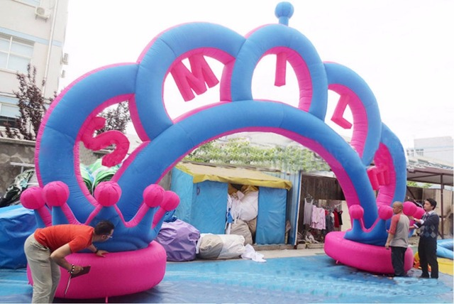 Giant wedding decorations outdoor inflatable crown arch for entrance giant wedding decorations outdoor inflatable crown arch for entrance on lawn wedding junglespirit Image collections