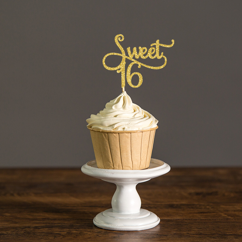 24Pcs Sumerk Gold Glitter Sweet 16 Cupcake Toppers with Happy Birthday Cupcake Toppers Party Cake Decorations Supplies for 16th Birthday Party