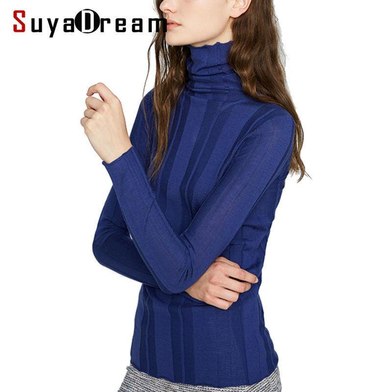 Women Wool Pullovers 100 Wool RIB knitted Sweater For Women Soft Wool jumper pull 2018 Fall