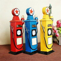Free Shipping Handmade Gas Station Model Vintage Metal Craft Shooting Props Retro Bar Pub Cafe Shop