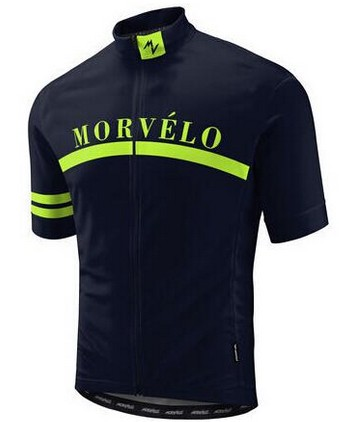 Morvelo 2019 New Design Men's Short Sleeves Bike Shirt Standing Collar Breathable Mesh Fabric Cycling Jersey Wear Fluorescent
