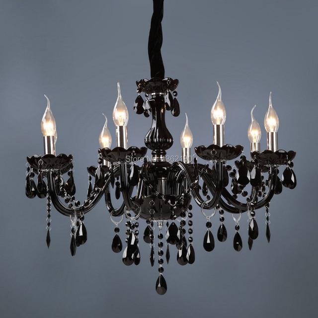 Brand New Classic Black Crystal Glass Chandelier Modern Fashion Art Lamp Dining Room 8 Lights