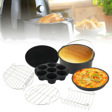 hot deal buy 7 pcs 8inch air fryer accessories creative pizza cupcake pan cake barrel metal holder bread stand kitchen cooking tool sets