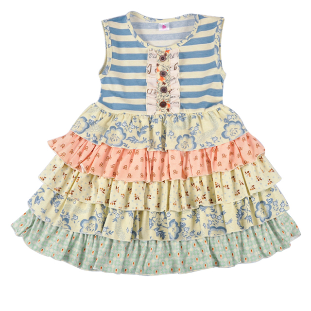 ff05965fed6d Popular Design Girl Dress Summer Persnickety Remake Boutique Clothing  Ruffle Floral Dress Cotton Remake Dresses LYQ803-097