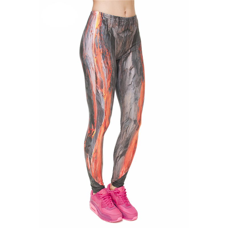 Volcanic Magma Print Women Leggings Fitness Breathable Perspiration Quick Drying Leggins High Elasticity Trouser Pants