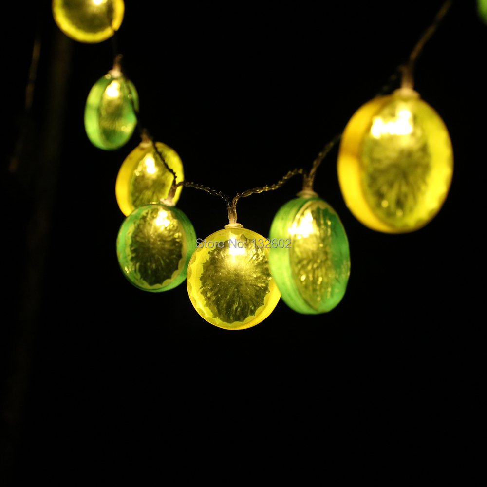 Battery 2m 10led Lemon Shaped Led String Lights Holiday