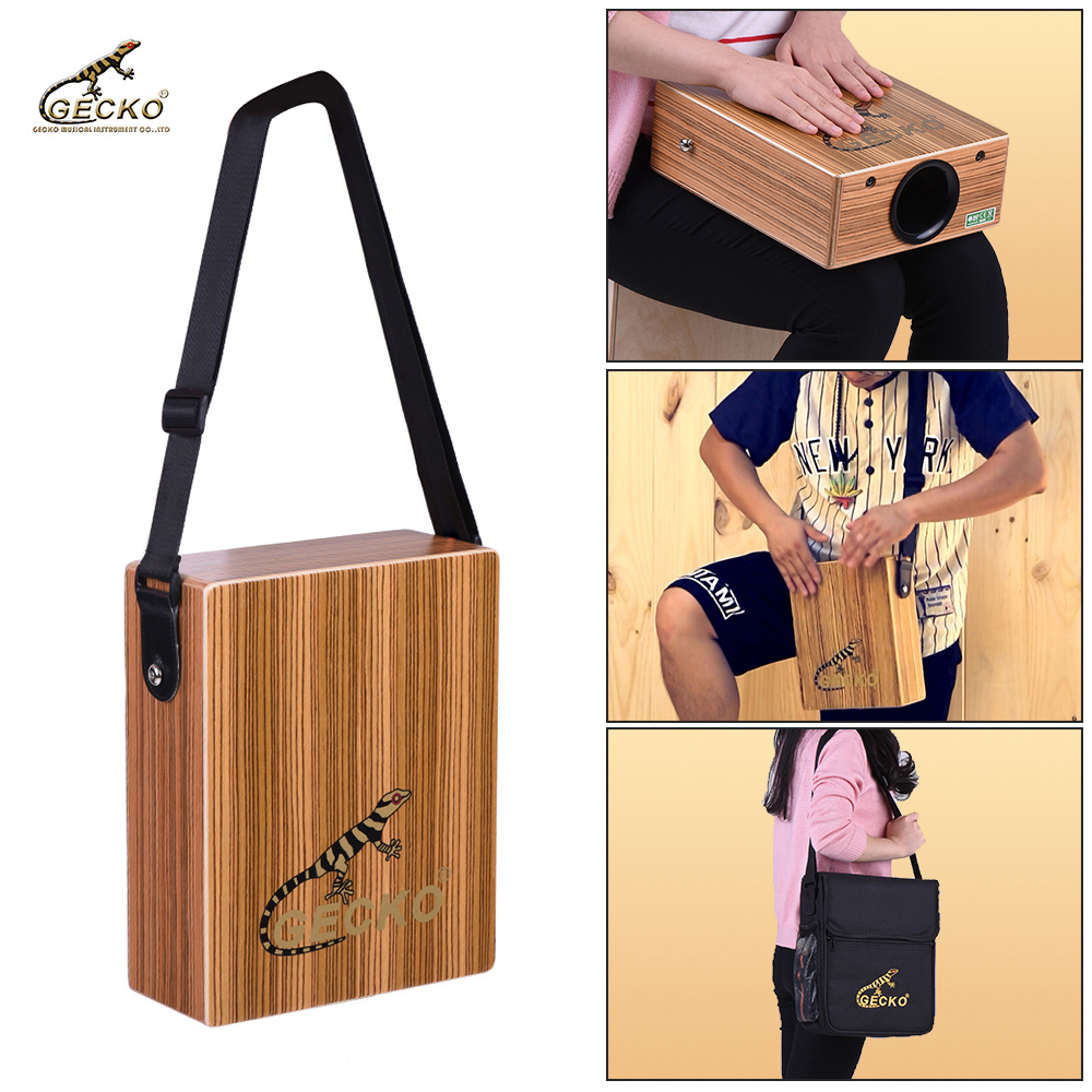 GECKO Percussion-Instrument Hand-Drum Cajon-Box Traveling Wood with Strap Carrying-Bag