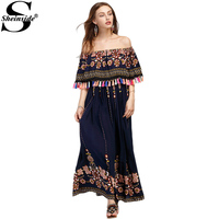 Sheinside Boho Aztec Print Maxi Dress Women Flounce Layered Tassel Trim Summer Dresses 2017 New Vintage