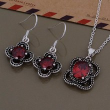 Free Shipping Promotion Silver plated Jewelry Sets Earring 683 + Necklace 999 /cceaktla fbcansja AS550(China)