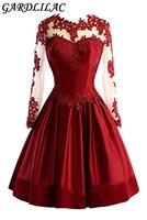 Gardlilac Satin Applique Short Homecoming Dress Full Sleeve Ball Gown Graduation Dress Short Wedding Party Dress
