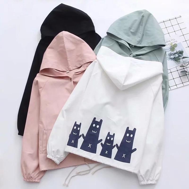 Alien Kitty Autumn 2018 New Fashion   Jacket   Women BF Harajuku Hooded Windbreaker Cartoon Print Outwear Tops Casual   Basic   Coat