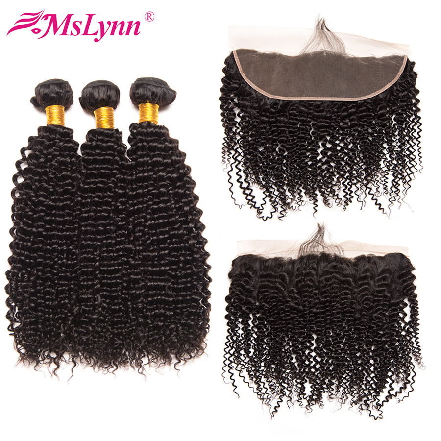 Mslynn Afro Kinky Curly Hair Bundles With Frontal Human Hair Bundles With Closure Brazilian Hair Bundles