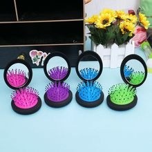 Girls Portable Mini Folding Massage Comb Airbag Massage Round Travel Hair brush With Mirror Cute Anti-static Rainbow Comb vintage style portable folding airbag massage comb with mirror