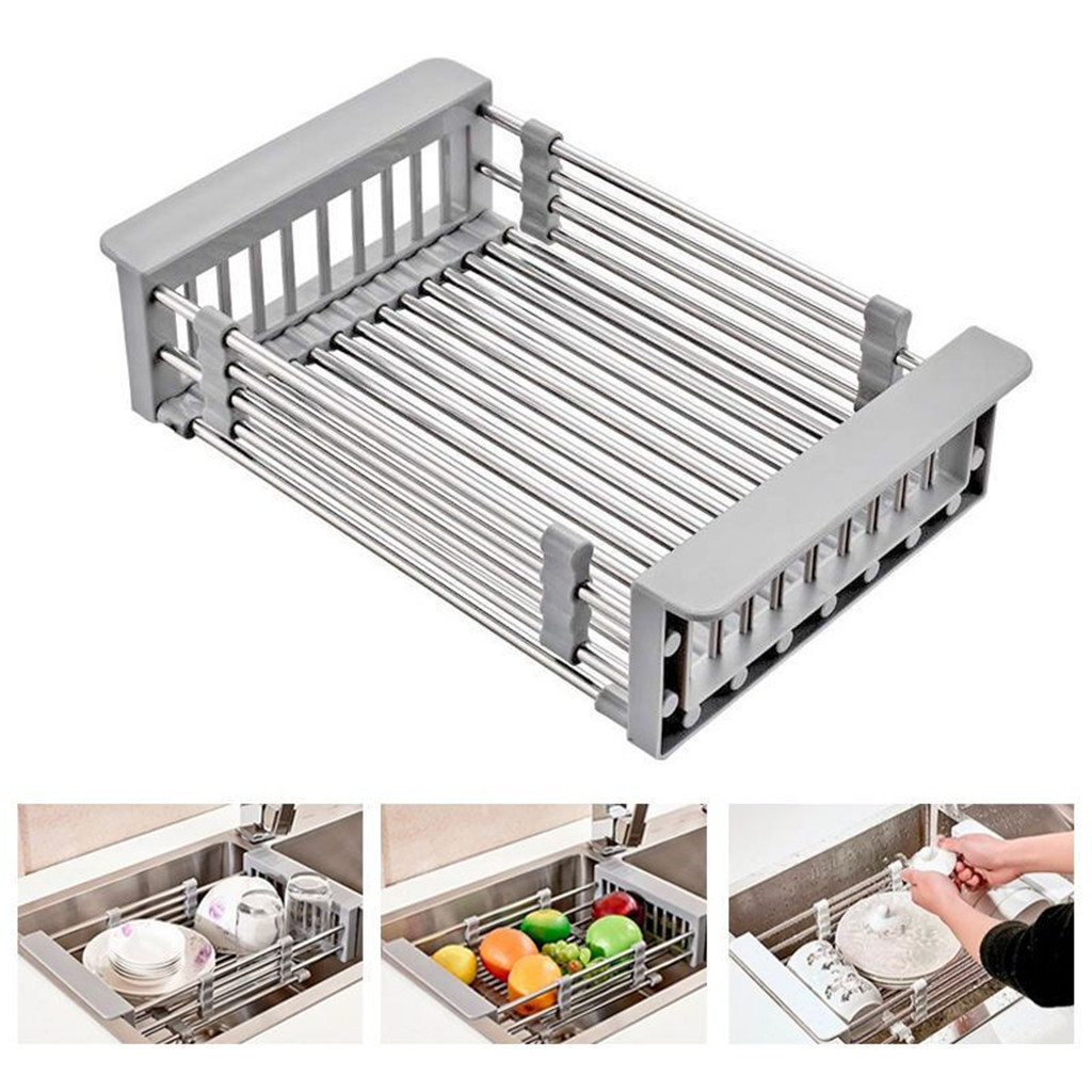 2019  Rack Drain Basket Stainless Steel Telescopic Sink Dish Drainers For Kitchen Drain Shelf  Installation Kitchen Holder
